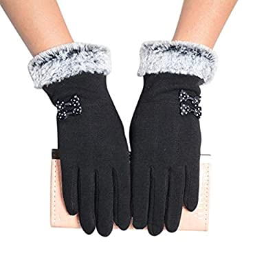 Voberry Women's Winter Warm Touch Screen Riding Drove Gloves for One Size Black