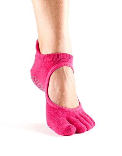 ToeSox Bella Calzini da donna con dita  1paio in cotone biologico aperti sul davanti, calzini per yoga. Fuchsia