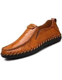 Los Hombres Mocasines Zapatos Casuales de Cuero cómodos Zapatos de conducción Plana para ...