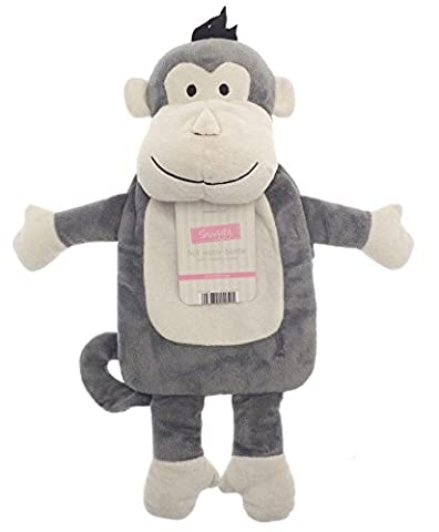 Kids Hot Water Bottle with Adorable Cuddly Animal Cover - Grey Monkey
