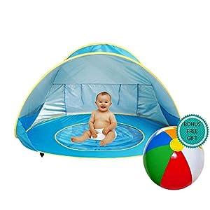 E-MANIS Tenda Spiaggia Bambini,Tende per Bambini Pop Up Tenda con Mini Piscina,Tenda per Neonati Pieghevole Portatile Protezione Solare Anti-UV 50, per Ideale Vacanze in Spiaggia-Blu