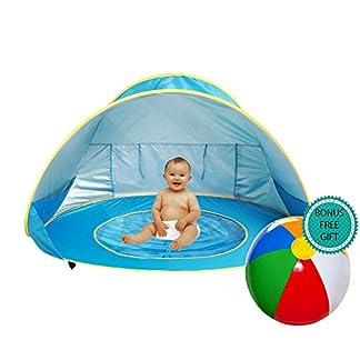E-MANIS Tienda Playa Bebe,Pop-up Tienda de bebé con Piscina para Infantil Carpa Plegable Portátil Protección Solar Anti UV 50,Tienda Campaña Playa para Bebés para Vacación Playa Parque – Azul