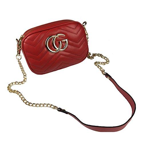 XNRHH 2018 Kette Tasche Stern Mit Der Gleichen Weiblichen Tasche Schulter Messenger Bag Handtasche Mini-Tasche(Rot-Einheitsgröße) (Mini-messenger Bag Rote)