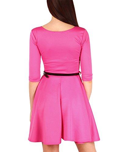 KRISP® Damen Skater Kleid 3/4 Ärmel Plissiert Pink (9072)