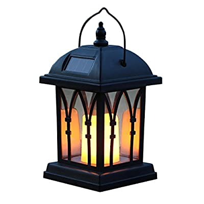 Garden Candle Lantern - Solar Powered - Flickering Effect - Amber LED - 27cm by Festive Lights from Festive Lights