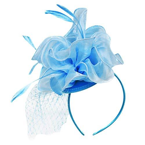 Junjie Blume Flapper Stirnband Great Gatsby Kopfschmuck Kopfbedeckung Unisex Cabrio Junge Festival faltbar Mesh Vintage Navy, Lila, Sky Blue, Pink, Rot, Schwarz -