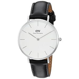 Daniel Wellington Petite Sheffield, reloj negro / plata, 32 mm, piel, para