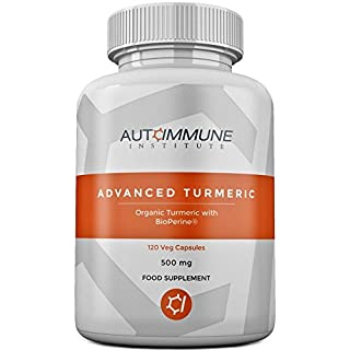Organic Turmeric Capsules High Strength Supplement with Black Pepper Extract (Bioperine) for 20 Times Improved Absorption! High Levels Curcumin. 120 Veg Capsules. Made in UK. Advanced Turmeric.