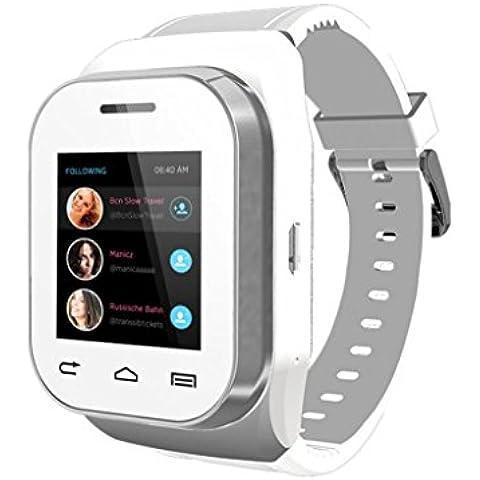 Tongshi W1 Bluetooth inteligente del reloj del reloj del teléfono con pantalla táctil + teclado (Blanco)