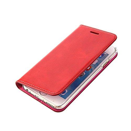Handgefertigte Rote Tasche (WoRmCaSe® Handytasche iPhone 6 - 6S Hülle - ECHTLEDER - HANDGEFERTIGT - KARTENFACH - MAGNETVERSCHLUSS - Farbe Rot - Zubehör Case Tasche Etui I-Phone Flip-Case Cover Schutzhulle aus Echtleder)