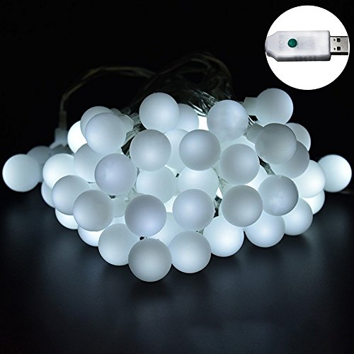 60 LED Globe String Lights, Ball Christmas Lights, Indoor / Outdoor Decorative Light, USB Powered, 33 ft with8 Changing Modes,for Garden,Wedding Tree Decoration,Xmas Party-Cool White