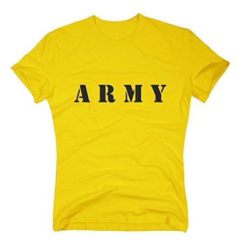 ARMY T-Shirt Militär Military Force Armee Soldat Soldier, XL, gelb (Gelben Armee Militär T-shirt)