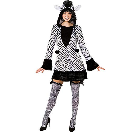PARTY DISCOUNT® Damen-Kostüm Zebra Kleid mit Kapuze, Gr. 46-48