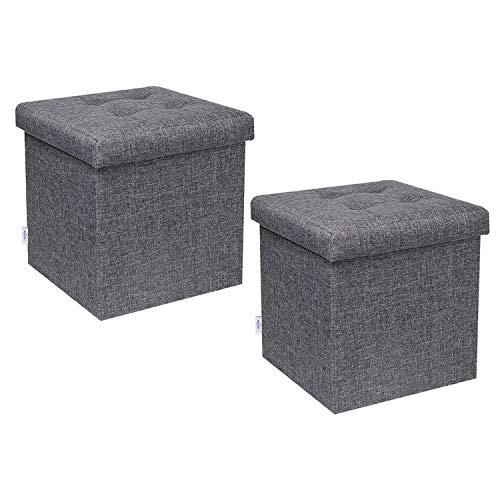 Bonlife Sitztruhe Aufbewahrung Kiste Fußbank Truhen Faltbarer Sitzhocker Mit Stauraum Leinen Packung mit 2 Stück,Grau, 32 x 32 x 32 cm