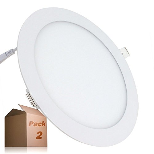 Placa LED 20W Circular SuperSlim (Pack 2) Downlight LED Blanco Frío 6000K-6500K...
