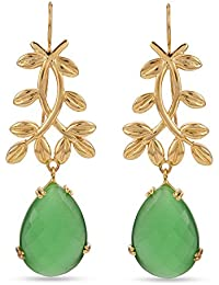Tistabene Retails Floral Indo Western Earring | Gold Plated Colored Stone Dangler Earring | Fashion Jewellery...