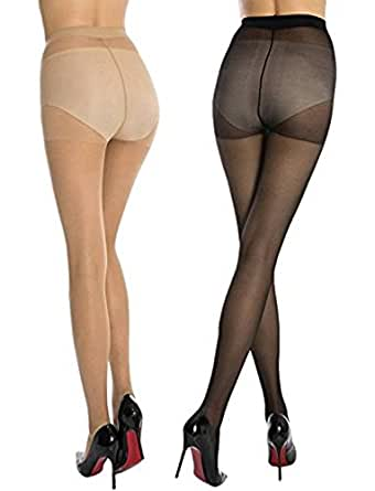 Two Dots Women's Stocking Pack Of 2 - (Black & Skin)