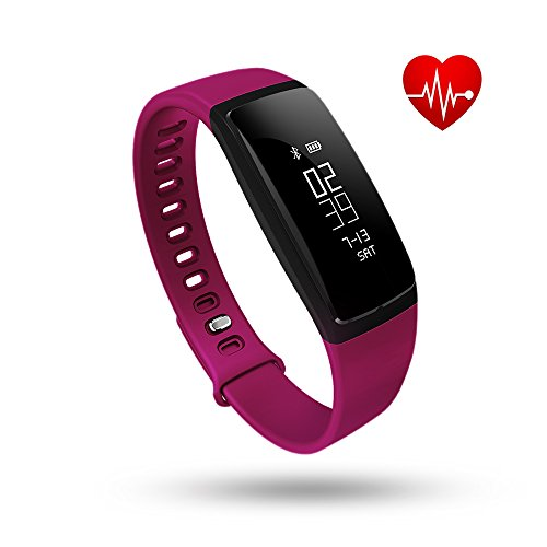 Fitness Tracker Tonbux Upgraded good Watch Wristband Heart Rate Monitor Blood Press Monitor OLED Pedometer Bluetooth 40 for Outdoor running Walking For iOS Android good contact V7 Purple Golf Course GPS Units