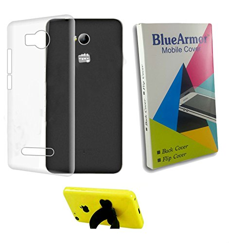 BlueArmor Transparent Soft Back Cover Case for Micromax Q385 Spark 3 & Silicone Stand
