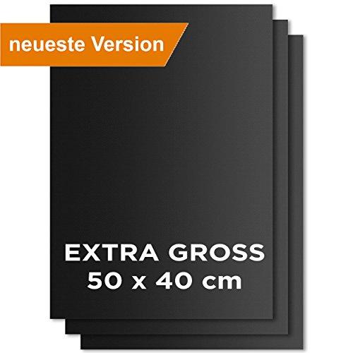 KOMOTO Premium BBQ Grillmatte 3er Set I EXTRA GROSS 50x40 cm I für Gasgrill & Holzkohle Grill I wiederverwendbare Backmatte I mit Antihaftbeschichtung (Grill-bbq-grill-set)