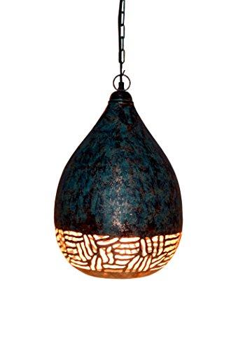 Emporio Arts NEUF fabriqués à la main à suspendre vintage Suspension abat-jour lampe de plafond en forme de ballon de moitié Zebra Etching Lzc2392, fer à repasser, Vert patiné, E27, 60 Watts