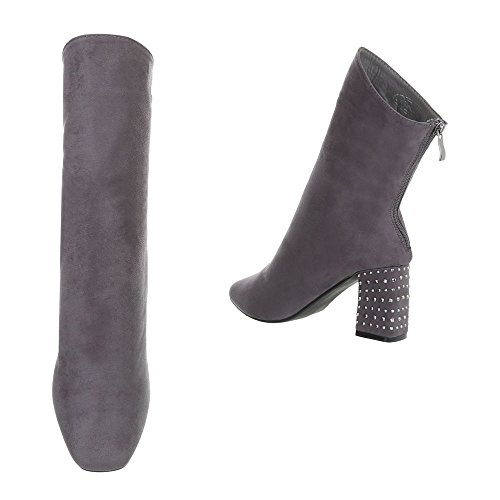 Chaussures femme Bottes et bottines Kitten-Heel Bottines High Heels Ital-Design gris 889-13