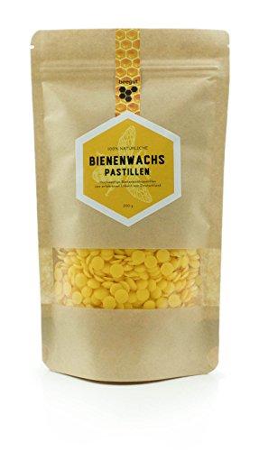 Natürliches, reines Bienenwachs - 200g gelbe Bienenwachs Pastillen - bestens geeignet für selbstgemachte Naturkosmetik und Kerzenherstellung