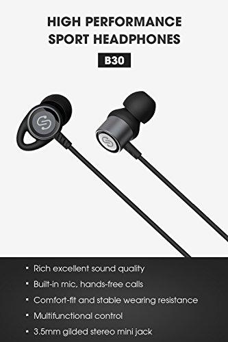 Auriculares con cable 3.5mm SoundPEATS Auricular In Ear Estéreo HiFi Cancelación de Ruido Auriculares de Control con Cable Cascos con Micrófono B30(Negro)