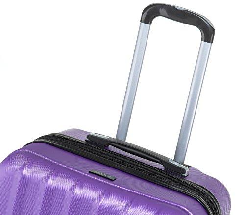TSA-Schloß 2080 Hangepäck Zwillingsrollen neu Reisekoffer Koffer Trolley Hartschale XL-L-M(Boardcase) in 12 Farben (Lila, M) - 6