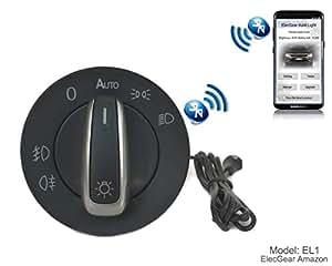 EL1 Auto Lichtsensor Bluetooth App Lichtschalter, KFZ Scheinwerferschalter Hauptlichtschalter Nebelscheinwerfer, Coming Leaving Home Modul – Golf 5/6, Passat B6 B7, CC, Scirocco, EOS, Jetta, Yeti, T6