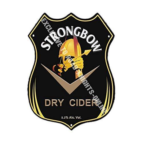 RKO Strongbow Dry Cider. Werbung bar Pub Getränk Pumpe Abzeichen Brewery Cask Keg Draught Pint Alkohol Hits The Spot Form Metall Wand Schild - 27 x 20 cm