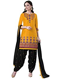 Lords Yellow Satin Cotton Unstitched Patiala Salwar Suit