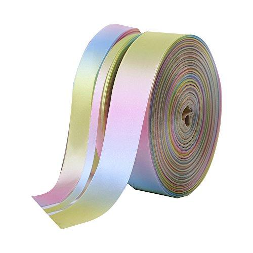 EXQULEG 50 Yard Regenbogen Farbverlauf Doppelseitig Satinband DIY Handgemachte Materialien, Hochzeitsgeschenkverpackung/Party/Deko/Ostern/Weihnachten (13mm) 50 Yard Organza Satin