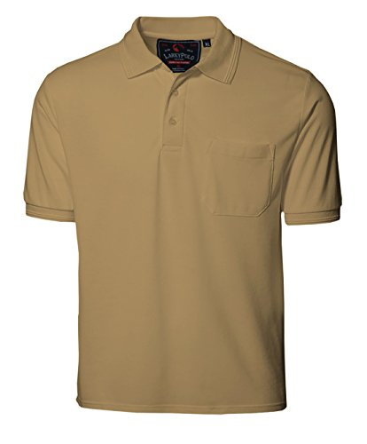 Larky Men's Cotton Polo T Shirt with Pocket (lky_mens_polo_L_A_Beige_L - 40)