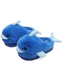 YANMMll Autunno E Inverno Bambini Delfino Pantofole in Cotone Carino Antiscivolo Ragazzi E Ragazze A Casa,Blue-A(19cm)