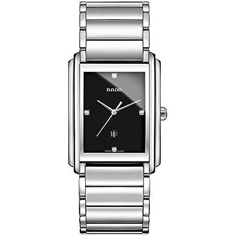 Integral de cuarzo Rado acero inoxidable esfera negra reloj para - R20997713