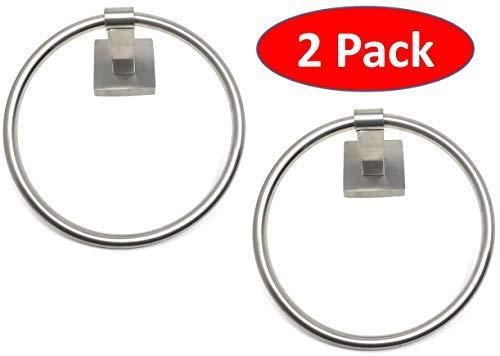 TEJATAN - 2er Set - Handtuchring (auch bekannt als - runder Handtuchhalter, runder Badhandtuchhalter, Badezimmerzubehör, Handtuchring) Square Base -