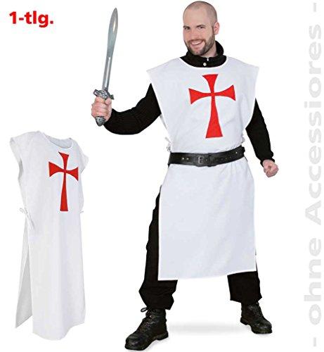 Kreuzritter, Überwurf, Ritter, Mittelalter, Glaubenskrieger, Kreuz, weiß-rot, 1-tlg. Überwurf ()