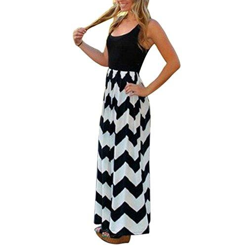 b6c7496d8fab Damen Sommerkleid Kleider Maxikleid Streifen Schulterfrei Rundhals High  Waist Lang Kleid Partykleid (S, Schwarz)