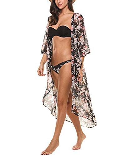 SALICO Frauen-Blumendruck-halbe Hülse Chiffon- Kimono-Wolljacke-langer Sommer-Schwimmen-Strand-Bikini-Badebekleidungs-Abdeckung oben schwarz02