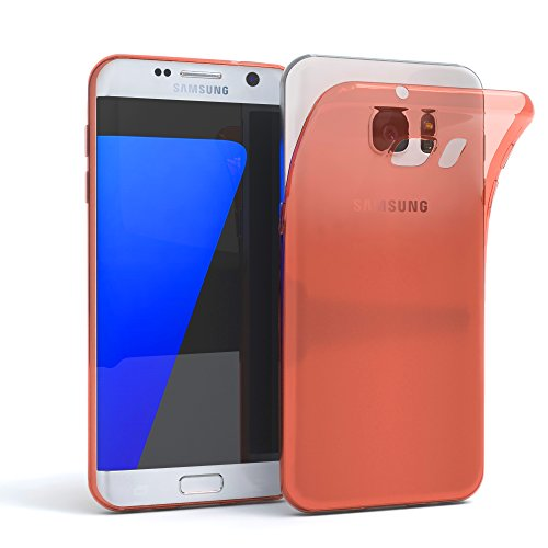 Samsung Galaxy S7 Edge Hülle - EAZY CASE Ultra Slim Cover TPU Handyhülle Matt - dünne Schutzhülle aus Silikon in Transparent / Weiß Clear Orange