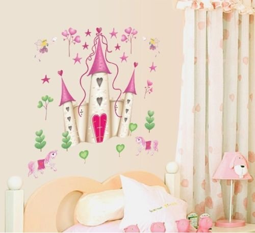 Wall Stickers Art Large Princess Fairy Castle Wall