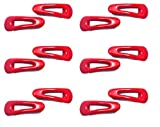 Daily Use Red Plastic on Metal Triangular Tic Tac Hair Clips for Girls and Women (Combo of 12 Clips)