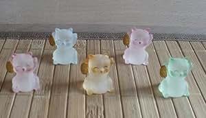 Statue Chat japonais figurine chat japonais Maneki Neko chat japonais Poly cristal polycristal (LOT DE 5) figurine Chaton porte bonheur et porte chance chat Feng Shui Asie Orient bouddhisme bouddhiste tao taoisme mythologie