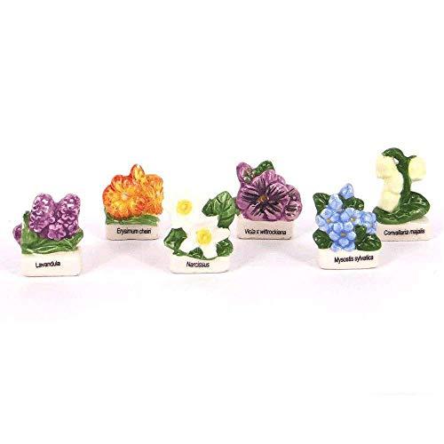 Ens. de 6Fèves porcelana–flores de nos campagnes.