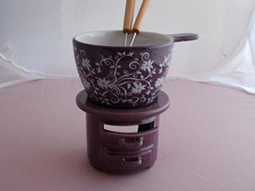 Unbekannt Fondue-Set Ornamente aus Keramik