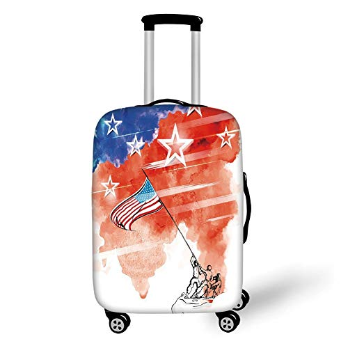 Travel Luggage Cover Suitcase Protector,4th of July Decor,Vintage Digital Style Statue of Liberty Figure with USA Flag Art Graphic Print,Multi,for Travel,M - Liberty Vintage Shorts