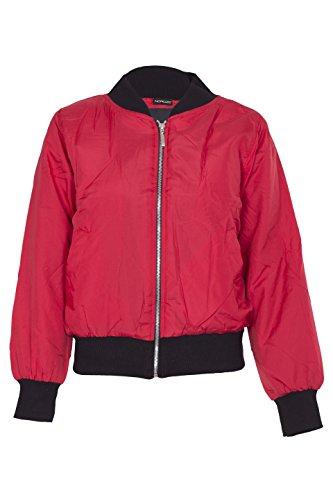 Noroze Damen Leichte MA1 Gepolstert Bomber Biker Motorradfahrer Jahrgang Reißverschluss Jacken Bomberjacke Mantel (38, Rot)