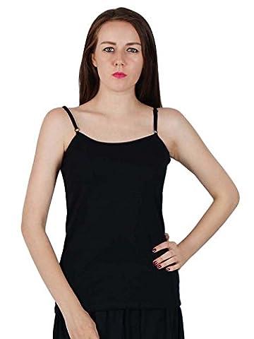 Spaghetti Strap Camisole femme sans manches T-shirt Débardeur Cami - Noir