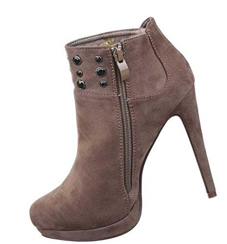 Damen Stiefeletten Schuhe Stiletto High Heels Boots Mit Deko Schwarz Hellbraun